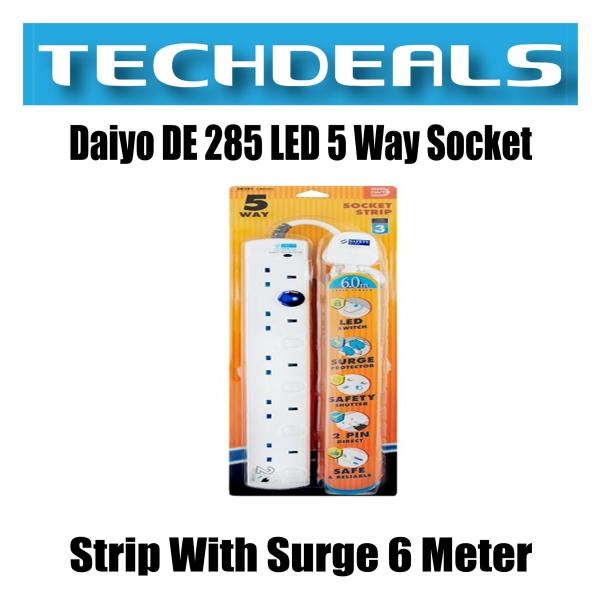 Daiyo DE 285 LED 5 Way Socket Strip With Surge