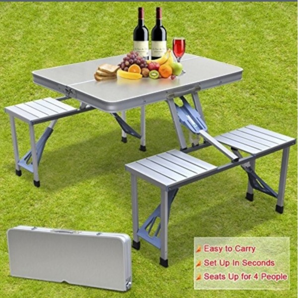 Aluminum Folding Picnic Table / Lightweight Folding Picnic Table / With 4 Chairs