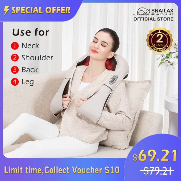 Buy [FREE SHIPPING]SL- 632BE Snailax Shiatsu Neck and Shoulder Massager - Back Support Massager with Heat, Deep Kneading Electric massage pillow for Neck, Back, Shoulder,Foot Body Pain Relief | 2 Yrs Warranty | Singapore
