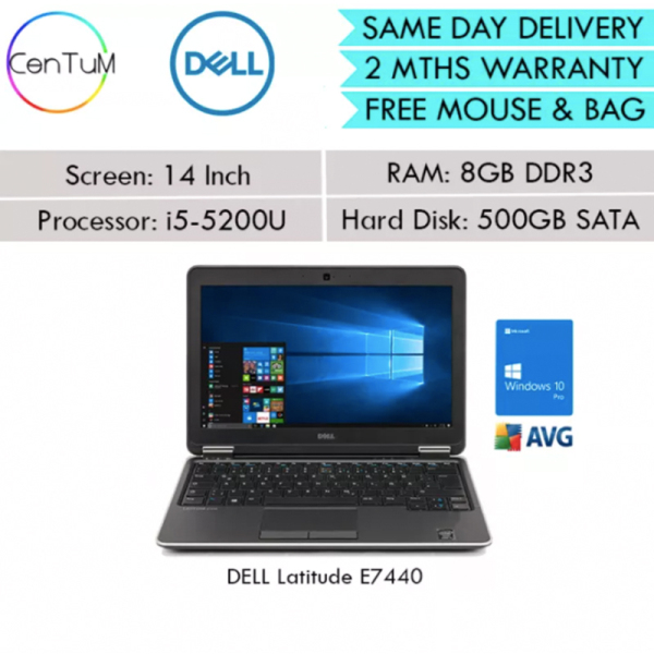 [Same Day Delivery] Refurbished Dell Latitude E7440 Ultrabook Core i5-4310U 2.00GHZ 8GB 128SSD 500SATA Win10 Pro Notebook Laptop [Extended Warranty Up to 24 Months]
