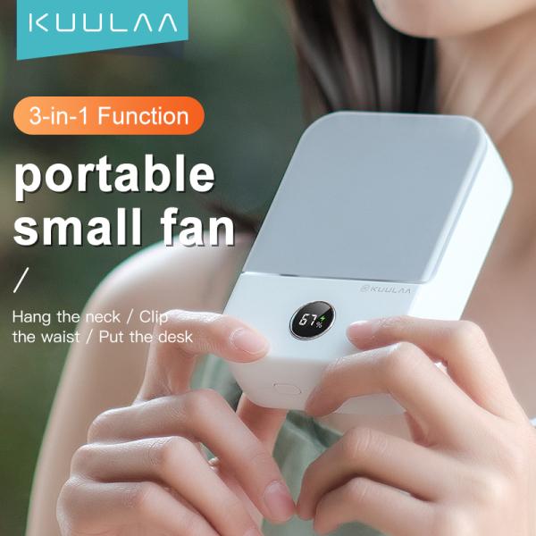KUULAA Mini Bladeless Fan Neck Fan 2000mAh USB Rechargeable Fan Mute Sports Fans for Home Outdoor Ventilador