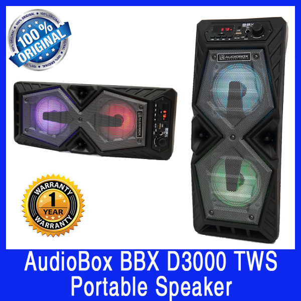 AudioBox BBXD3000 TWS Portable Speaker. Rechargeable battery. Bluetooth, USB Input, Memory Card Input. Excellent sound volume. With Karaoke Function. Local SG Stock. 1 Year Warranty. Singapore