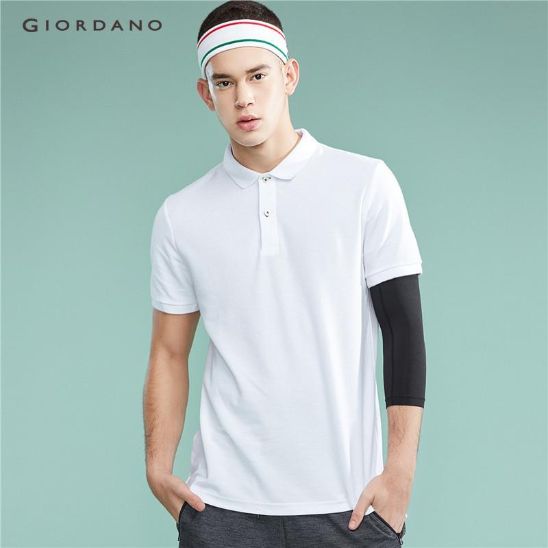 0b8b3b4be Giordano Men Polo Shirt Plain Polo T Shirt Soft Pique Short Sleeve Tops For  Men Side