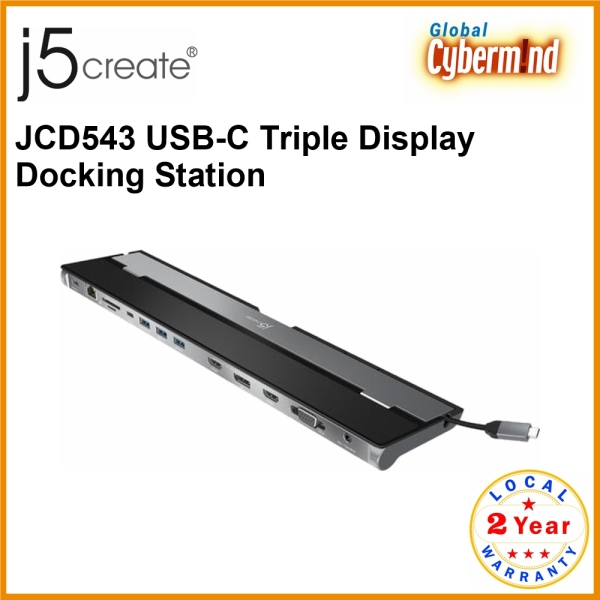 J5create JCD543 USB-C Triple Display Docking Station (Brought to you by Global Cybermind)