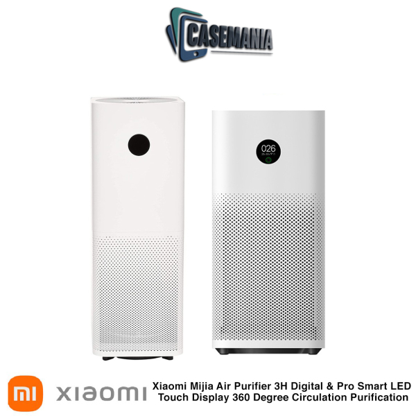 Xiaomi Mijia Air Purifier Pro Smart LED Touch Display 360 Degree High Precision Laser Sensor with Mi Home APP Control and Air Purifier 3H Digital LED Touch Display 360 Degree Circulation Purification with Google Alexa Control, White Singapore