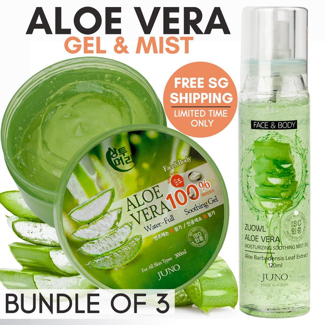 Bundle of 3 Aloe Vera Moisturising Gel / Mist JUNO Korea SG Ship Einashop  Exclusive