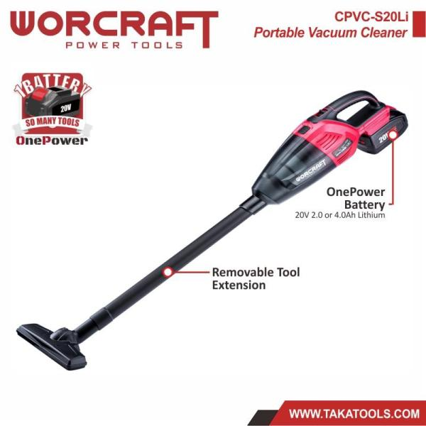 Worcraft OnePower Cordless Battery Portable Vacuum Cleaner (Tool only, without battery and charger)