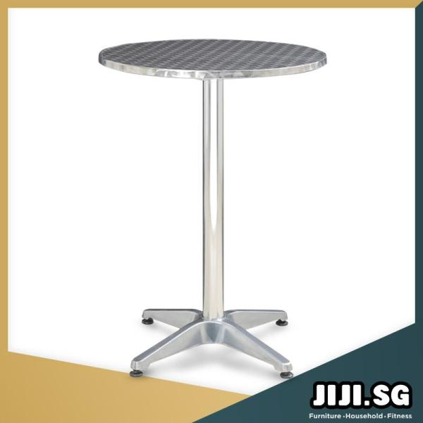 (JIJI SG) Stainless Steel Foldable Round Bar Table (110CM) - Bar Table / Foldable Table / Furniture (Free Installation + 6 Months Warranty)