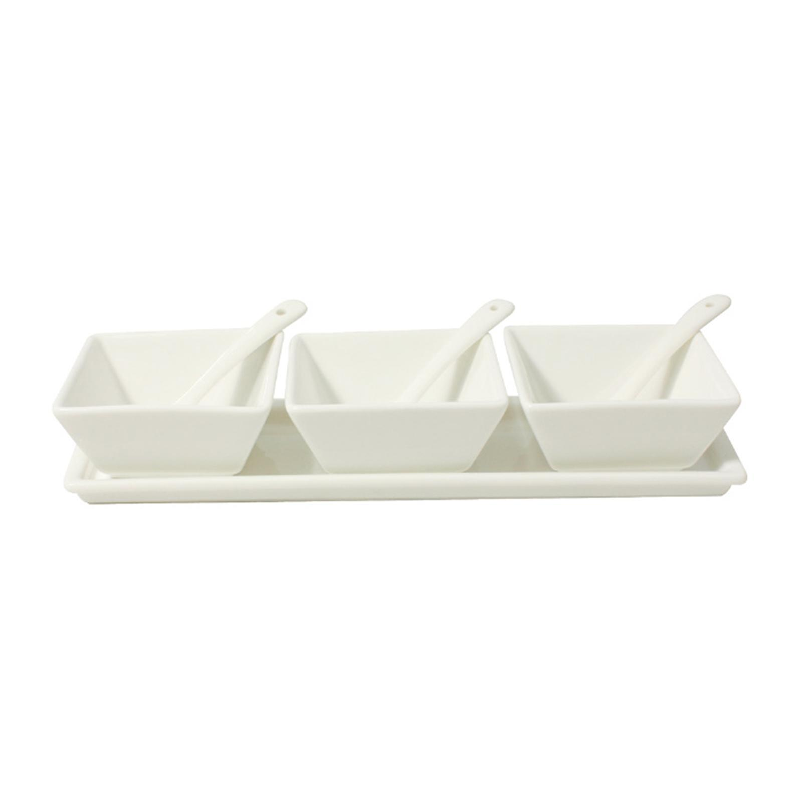 Cerabon Essentials Porcelain 7-Pieces Condiment Set With Tray 3 Square Bowls And 3 Spoons L253 x W81 x H50MM - By ToTT