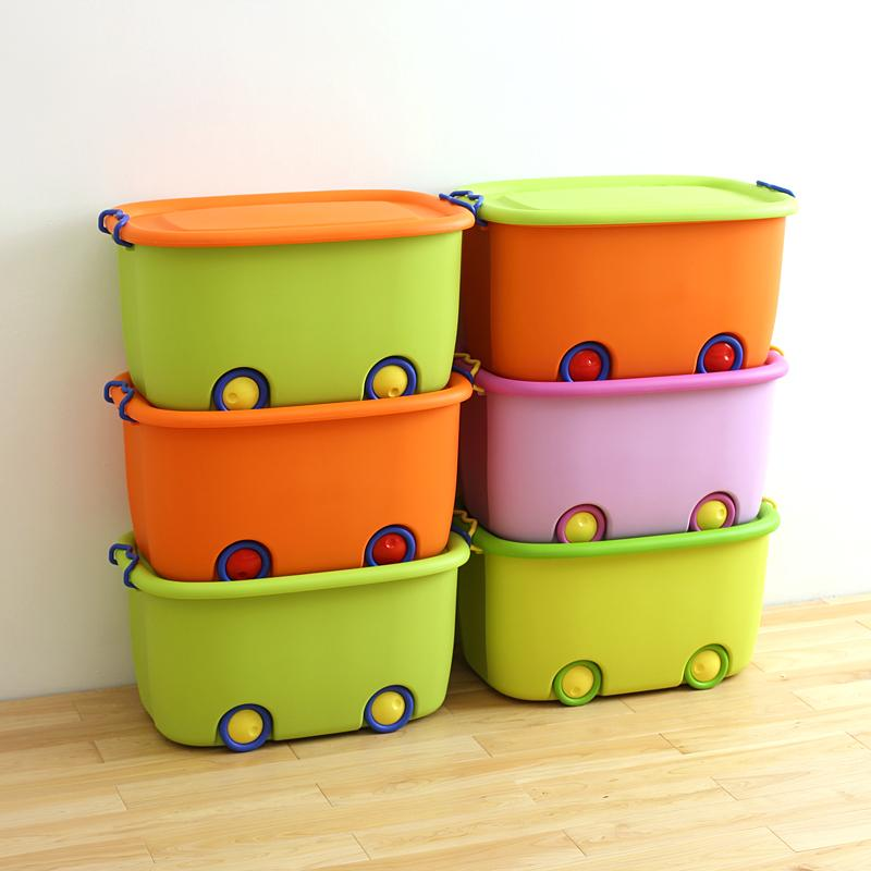 Plastic Pulley Children Toy Storage Box Creative Solid Color with Lid Debris Finishing Box 63996