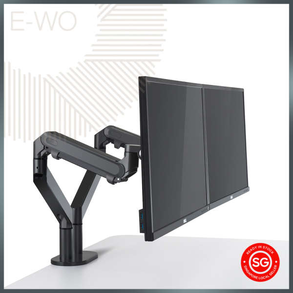 UPPER Dual Arm Monitor Stand | Double Screen Mount, Monitor Bracket | VESA Mount - 100mm & 75mm Compatible | Invisible Cable Management | Dual Desk Clamp | Gas Spring