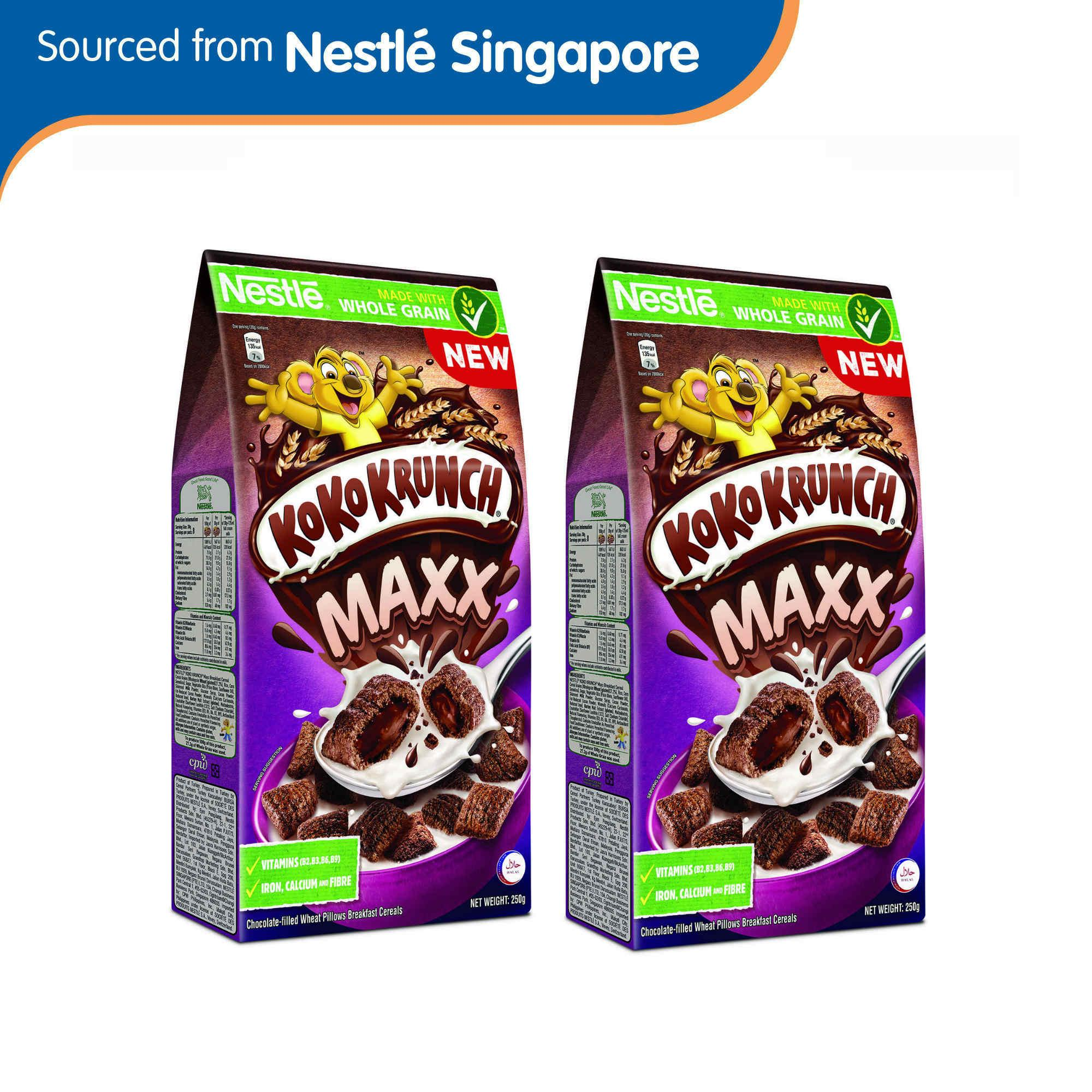 (2 Pack Bundle) Nestle Koko Krunch Maxx Choc-Filled Cereal 2x250g By Nestle Official Store.
