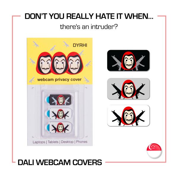 [SG] Thin Privacy Webcam Cover for Desktops, Laptops, Tablets, Ipads , Macbooks & Mobile Phones. Money Heist,  La Casa de Papel, Dali Mask Design, 3 in 1 pack, Designed in SG