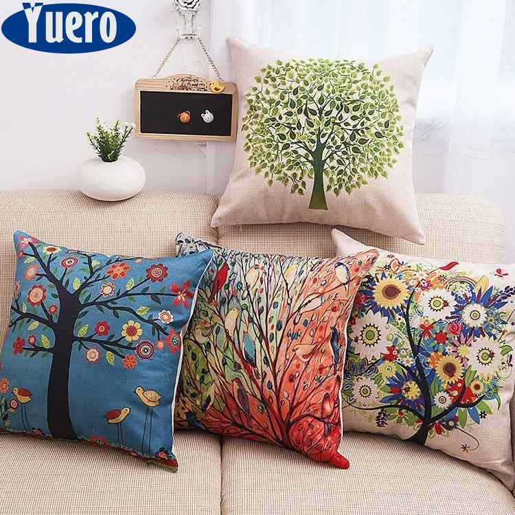 Yuero 6PC/Set Home Decorative Pillowcase Cotton Linen Sofa Cushion Throw Pillow Cover Life Tree Green Plants Pattern