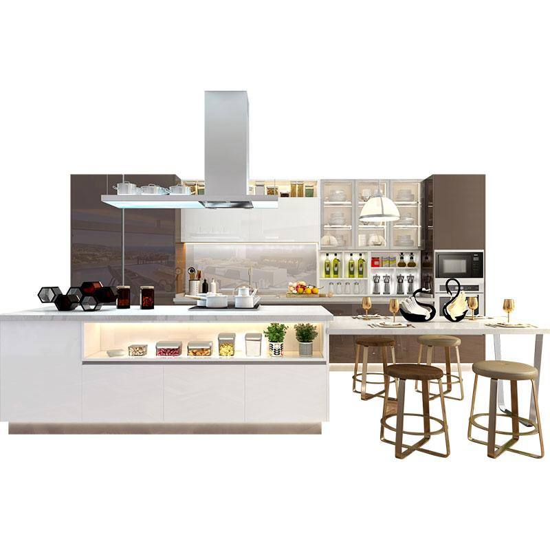 (Privileged Deposit) Modern Design Toughened Glass Customized Complete Kitchen Cabinets with Island