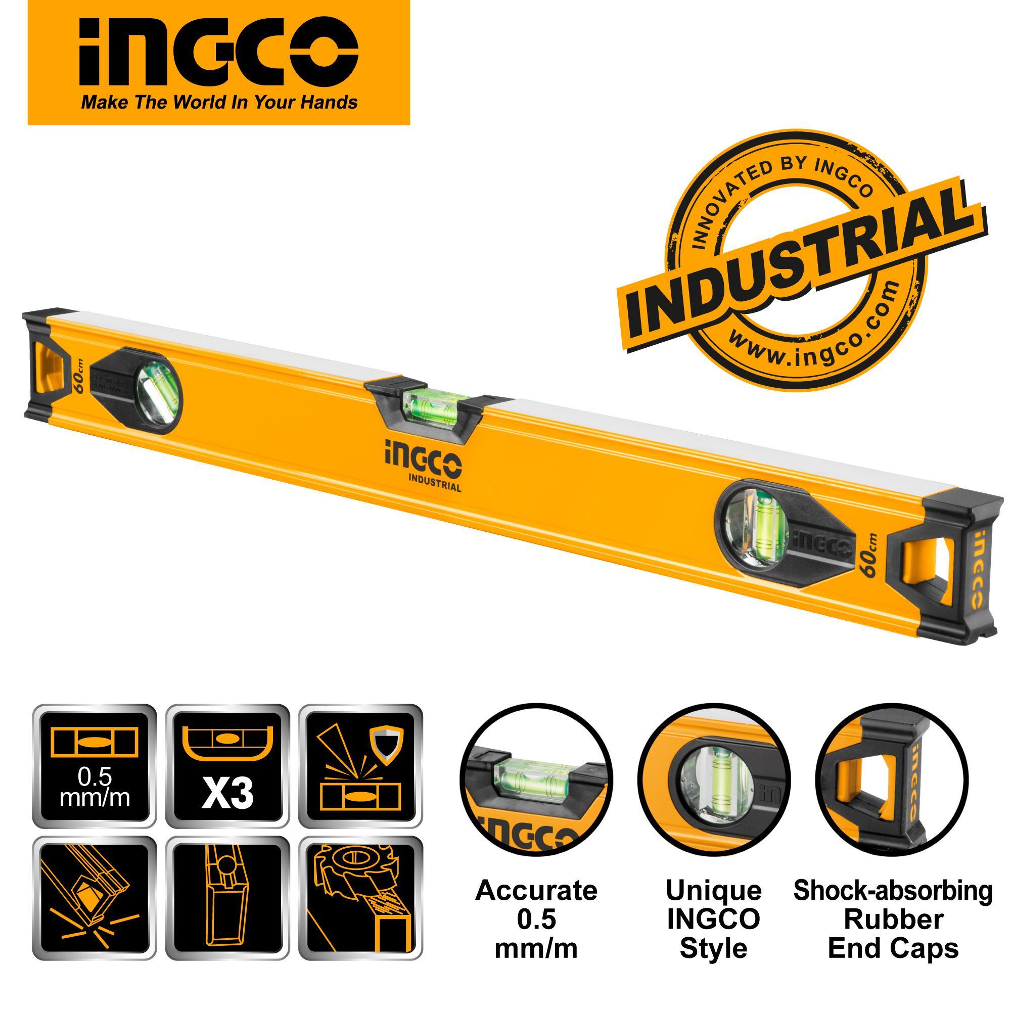 INGCO 60cm Double Side Milled Spirit Level with V-shape Slot HSL08060