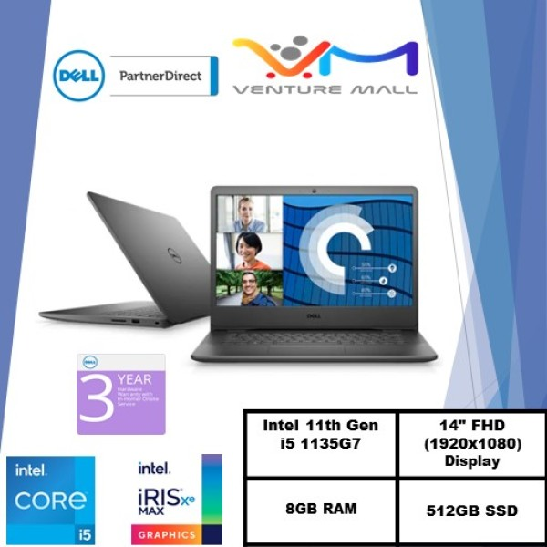 New 11th Gen (READY STOCK) New Vostro 14 3400- Intel® Core™ i5-1135G7/Windows 10 Pro/Intel® Iris® Xe Graphics/8GB RAM/512GB SSD/3yrs warranty