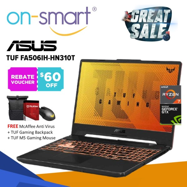 【Next Day Delivery】ASUS TUF FA506IH-HN310T | AMD Ryzen 7 4800H | 8GB RAM | 512GB SSD | NVIDIA GeForce GTX 1650 | 2 Yrs Wrty | New Gaming Laptop Computer