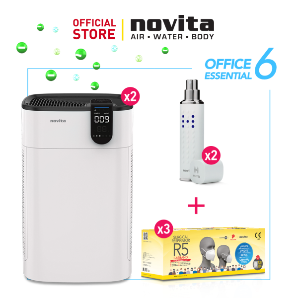novita Office Essential Package 6 (Air Purifier A8 x 2 + Surgical Respirator R5 Earband (100pcs in a box) x 3 + H-Mist22 x 2) Singapore