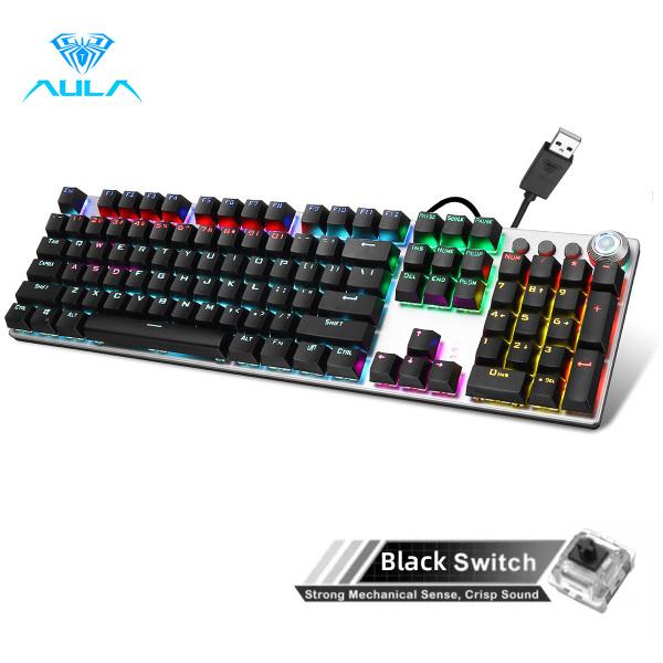 AULA F2088 Mechanical Gaming Keyboard 108key Usb Anti-Ghosting Marco Programming Metal Panel Led Backlit Keyboard For Pc Gamer (Punk Keycap) Singapore