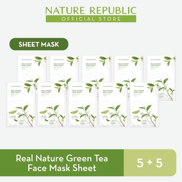 Buy Nature Republic Real Nature Green Tea Face Mask Sheet - for Normal Skin (5+5) Singapore