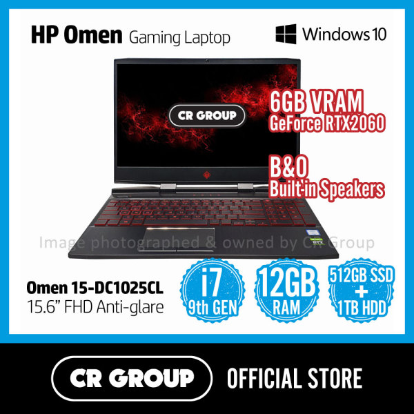 [Same Day Delivery] HP Omen Gaming Laptop 15.6 DC1025CL | Intel Core i7-9750H | NVIDIA RTX 2060 Graphics | 12GB DDR4 RAM | 512GB PCle M.2 SSD