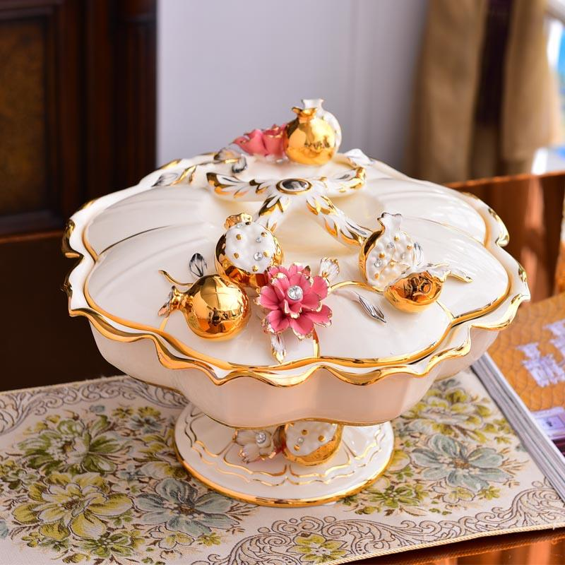 Dried Fruit Tray Candy Box Seperated with Lid Creative Living Room Home European Style Fruit Plate JmGo Box Luxury Decoration