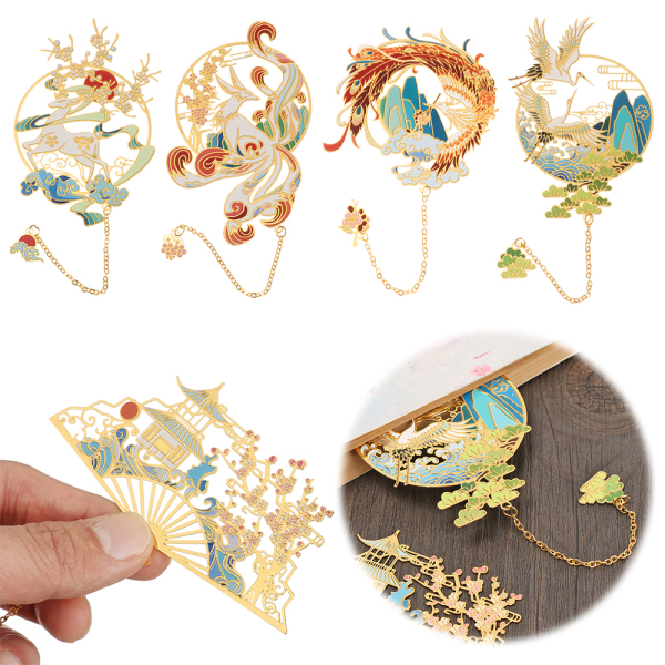 3LOVE3YOU Student Gift Chinese style Retro Tassel Pendant Pagination Mark Book Clip Painted Brass Bookmark Malaysia