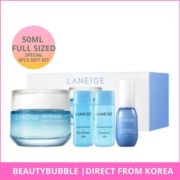Buy [LANEIGE] Water Bank Hydro Cream EX 50ml Special 4pcs Gift Set (Full-sized) Hydrating and Moisturizing Cream For Combination to Oily Skin - BeautyBubble Singapore