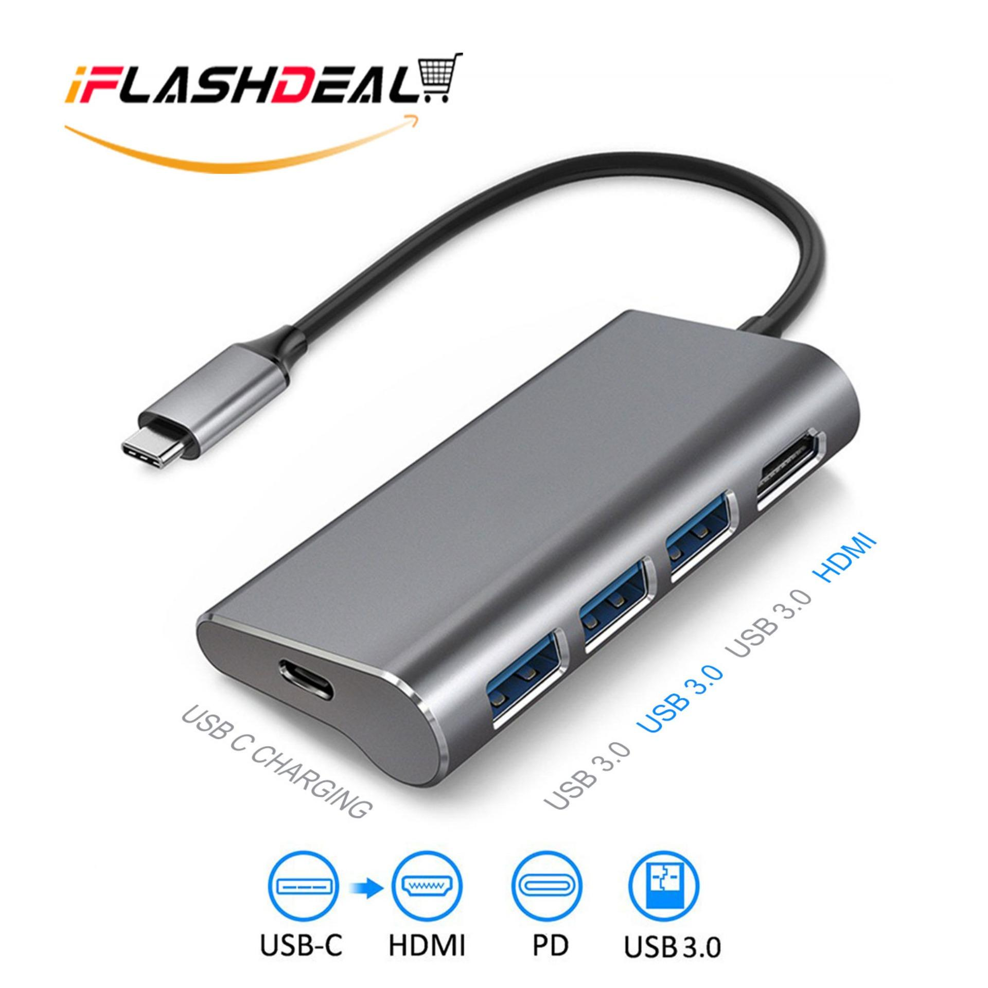 iFlashDeal USB C Hub Type C Video Adapters USB Type C Hub for Macbook Pro USB Type C To HDMI Adapter Dock with 4K HDMI Port, 3 USB 3.0 Ports USB C