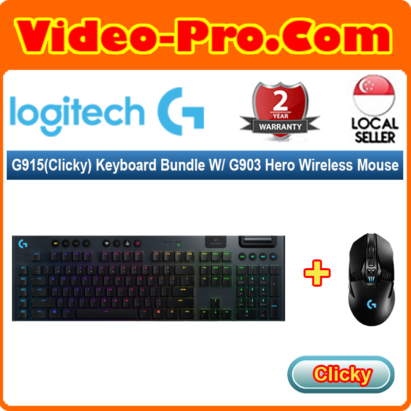 [Valentine 2-in-1 Bundle] Logitech G915 (Clicky) Keyboard (920-009228) Bundle With G903 Hero Wireless Mouse (910-005674) Singapore
