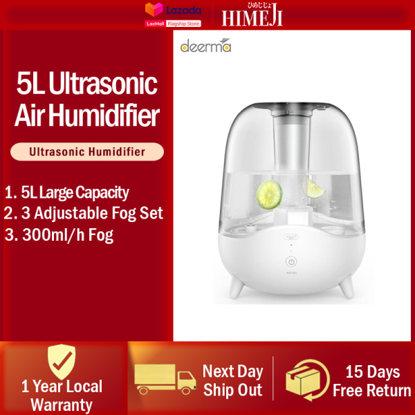 DEERMA Ultrasonic Cool Mist Humidifier Household Silent 5L Large Capacity Auto Shut Off Ajustable Mist Volume Pregnant Women Baby Air Small Aromatherapy Purification Heavy Fog Whisper Quiet 12 Month SG Warranty Free Adapter Singapore