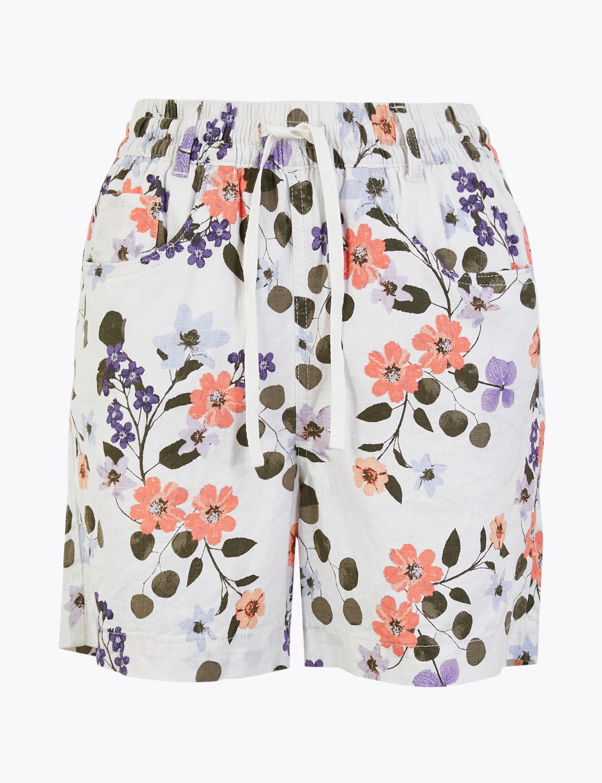 Linen Rich Floral Print Shorts.