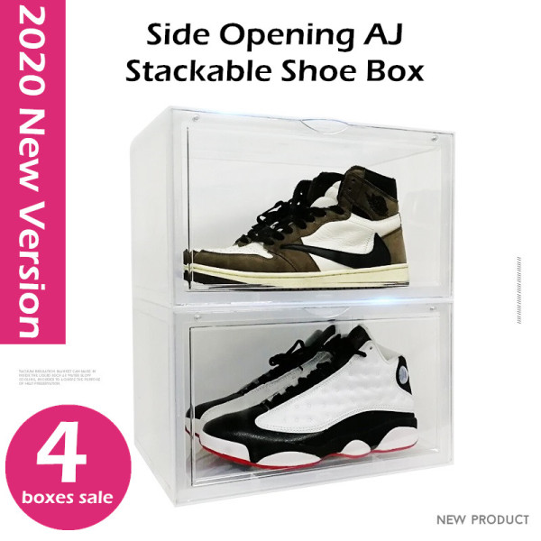 [4 Boxes Sale] 2020 New Version - Side Opening AJ Yeezy Stackable Sneakers Shoe Storage Box - High Quality | Big Capacity | Shoe Rack Boxes