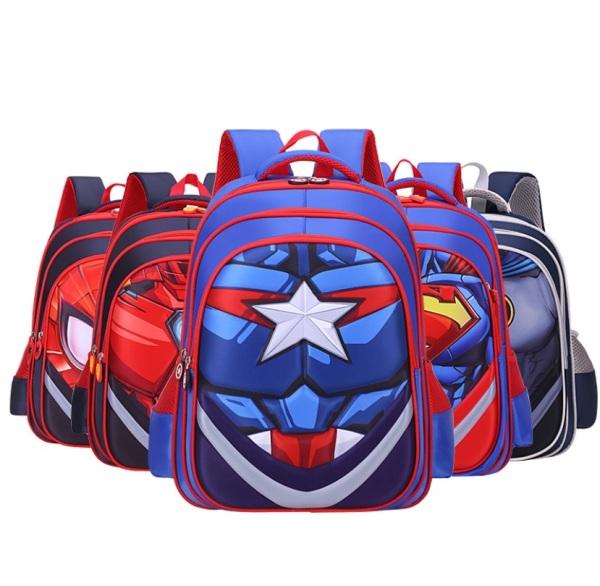💖 Kids Children 3D Primary School Superhero Spiderman Ironman Captain America Backpack School Bag 💖 Diaper Bag Milk Pump Toddler Childcare Baby Birthday Gifts 💖 Children Day Christmas Gifts 💖 A4 Size Big School Bag WaterProof Wind Proof 💖