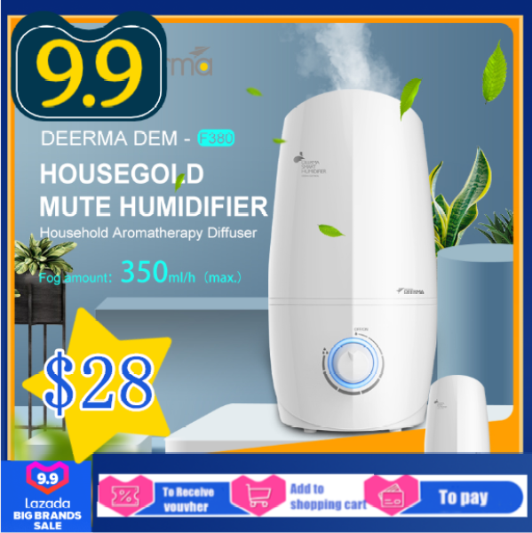 Xiaomi Deerma DEM-F380 3L Air Humidifier Aroma Oil Diffuser Mist Maker Mini Knob Air Purify Household Ultrasonic Humidification Machine Singapore