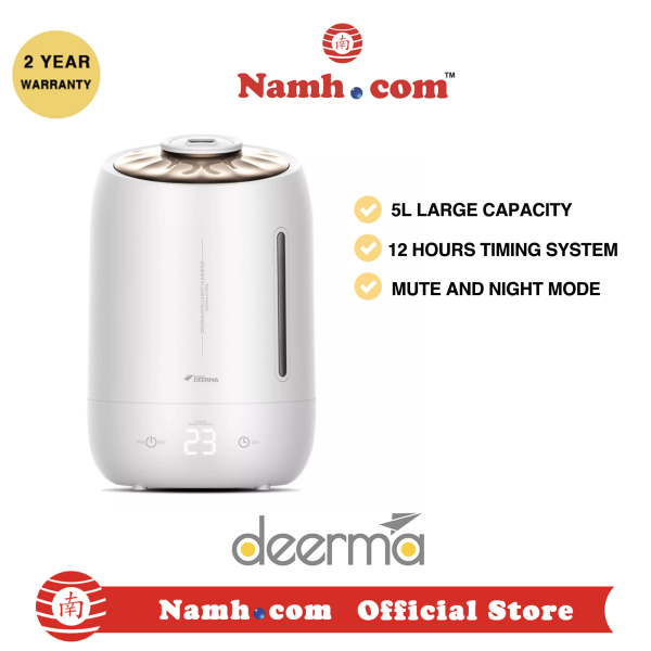Xiaomi Deerma F600 Humidifier Air Purifying Mist Maker 5L Touch-Sensitive Temperature, White Singapore