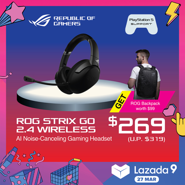 ASUS ROG Strix Go 2.4 USB-C 2.4 GHz wireless gaming headset with AI noise-cancelling microphone