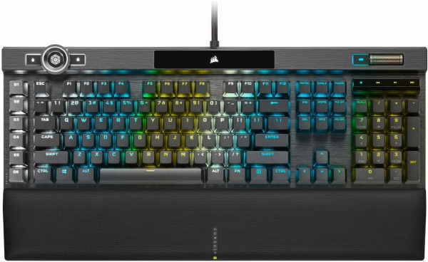 Corsair K100 RGB Mechanical Gaming Keyboard - Cherry MX Speed RGB Silver Keyswitches - AXON Hyper-Processing Technology for 4X Faster Throughput - 44-Zone RGB LightEdge - PBT Double-Shot Keycaps Singapore