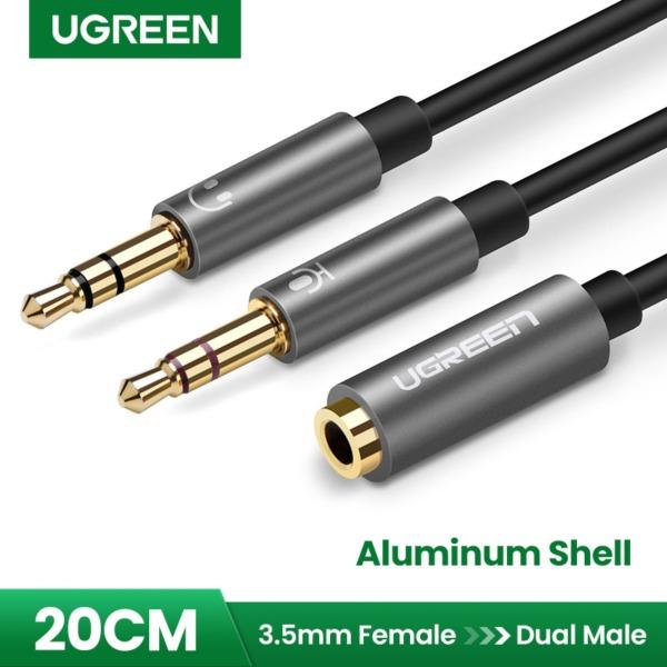 UGREEN 3.5mm Female to 2 Male Headphone Mic Audio Y Splitter Cable - Black - intl Singapore