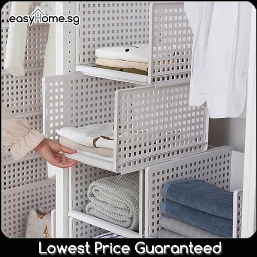 Easyhome.sg Modular Retractable Shelf / Storage Rack Drawer Clothes Closet Wardrobe Organiser