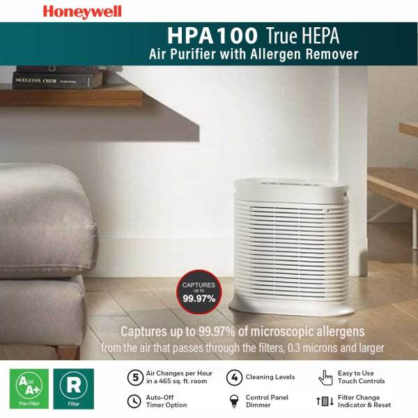 Honeywell Air Purifier HPA100 True HEPA With Allergen Remover UP TO 155 SQ FT (HPA100) / Captures up to 99.97% of Microscopic Allergens / ENERGY STAR qualified - Local Stocks Warranty by Shoponlinelah (Digital) Singapore