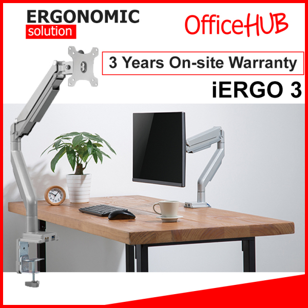 iErgo 3 Single Monitor Arm ★ Monitor Mount ★ Monitor Stand ★ Desk stand ★ Ergonomic Stand ★ Table Mount ★ USB 3.0 ★ Fits Monitor Screens up to 34 Inch ★ Max Weight 9 KG ★ VESA Mount ★ Height Adjustable ★ Clamp Grommet Mount To Desk ★