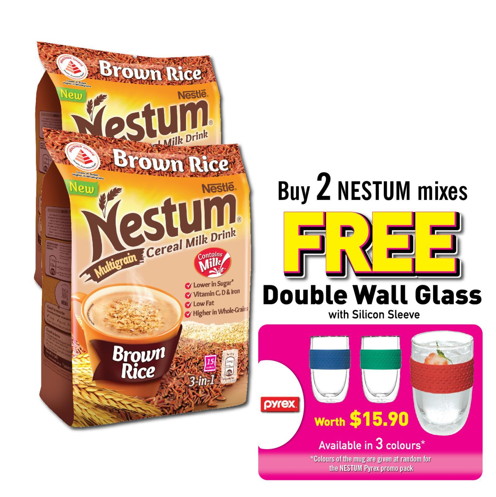 Nestum 3in1 Cereal Drink Brown Rice (2 Packs + Free Pyrex Double Wall Glass) By Redmart.