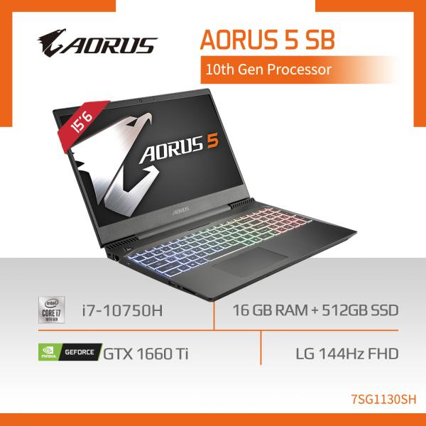 AORUS 5 SB (i7-10750H/16GB SAMSUNG DDR4 2666 (8GBx2)/GeForce GTX 1660 Ti GDDR6 6GB/512GB M.2 PCIE SSD/15.6inch Thin Bezel LG 144Hz Display/WINDOWS 10 HOME) [Ships 2-5 days]