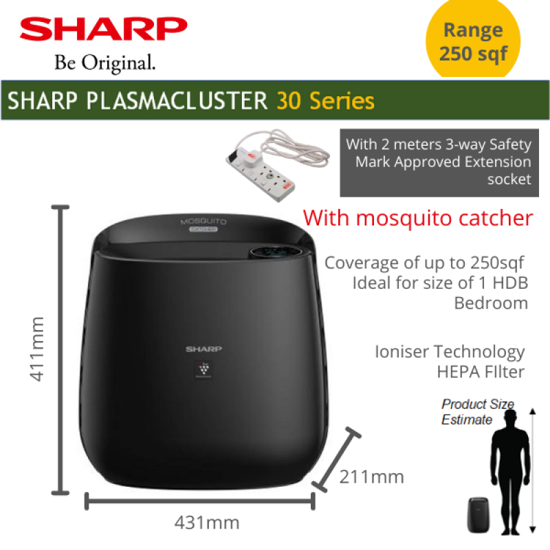 SHARP Air Purifier with ioniser and mosquito catcher for bedroom effective range 250 sqf Singapore