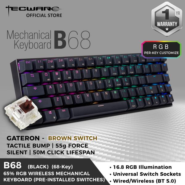 Tecware B68 65% RGB Backlit Wireless Mechanical Keyboard, 68-Key, BT 5.0 [2 Switch Option]