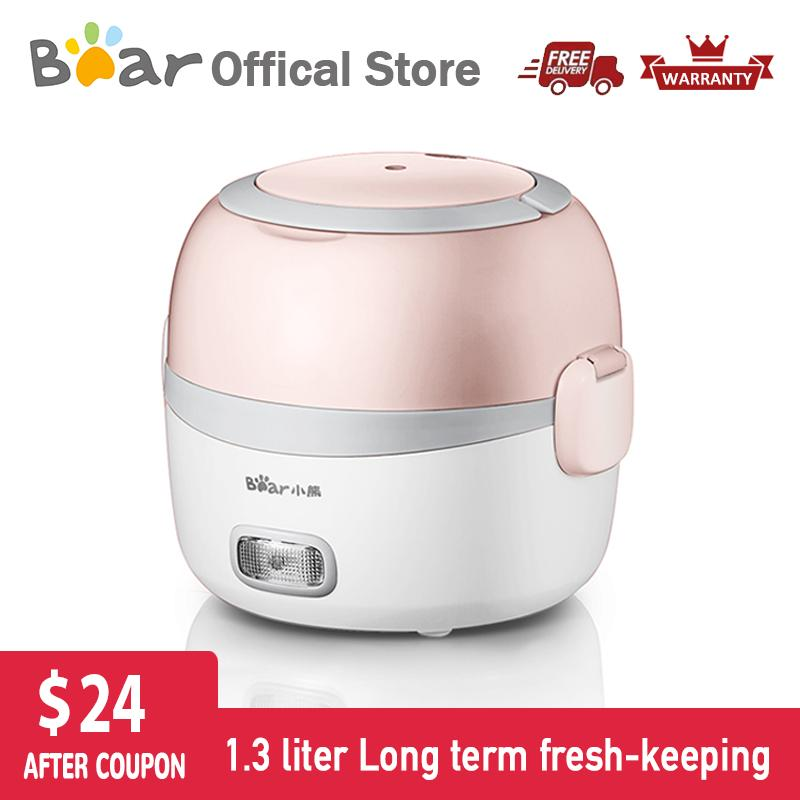 Bear Multi-Function Electric Lunch Box Dfh-B13e5 1.3l Double-Layer Rice Cooker Steaming Reheating Household Office/ Up To 6 Months Official Warranty By Bear Electric Appliance.