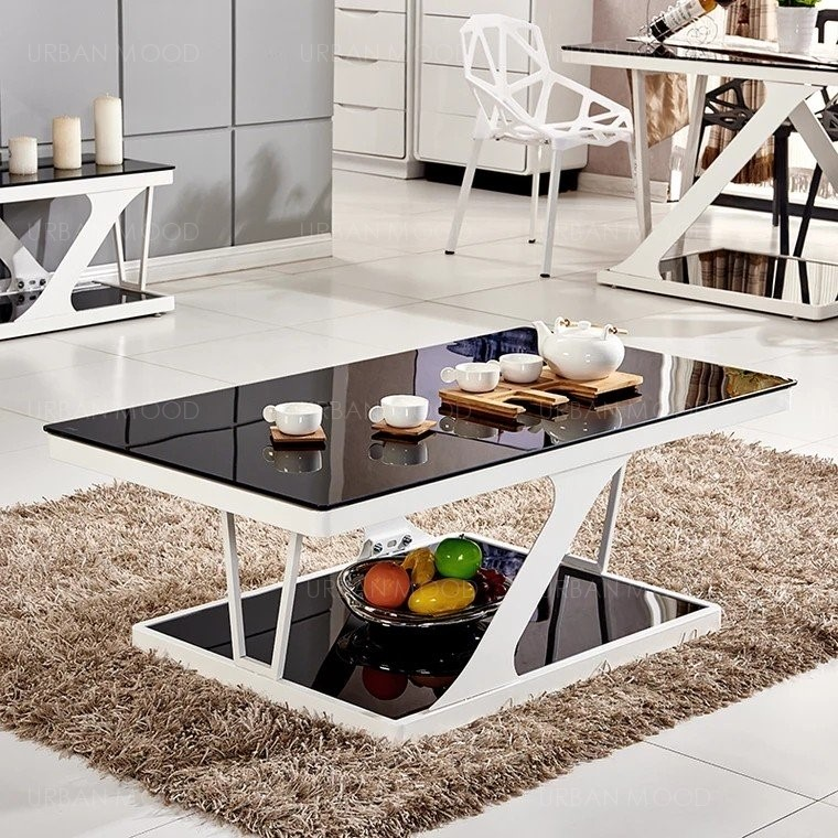 ANWELL Contemporary Z Tempered Glass Top Coffee Table