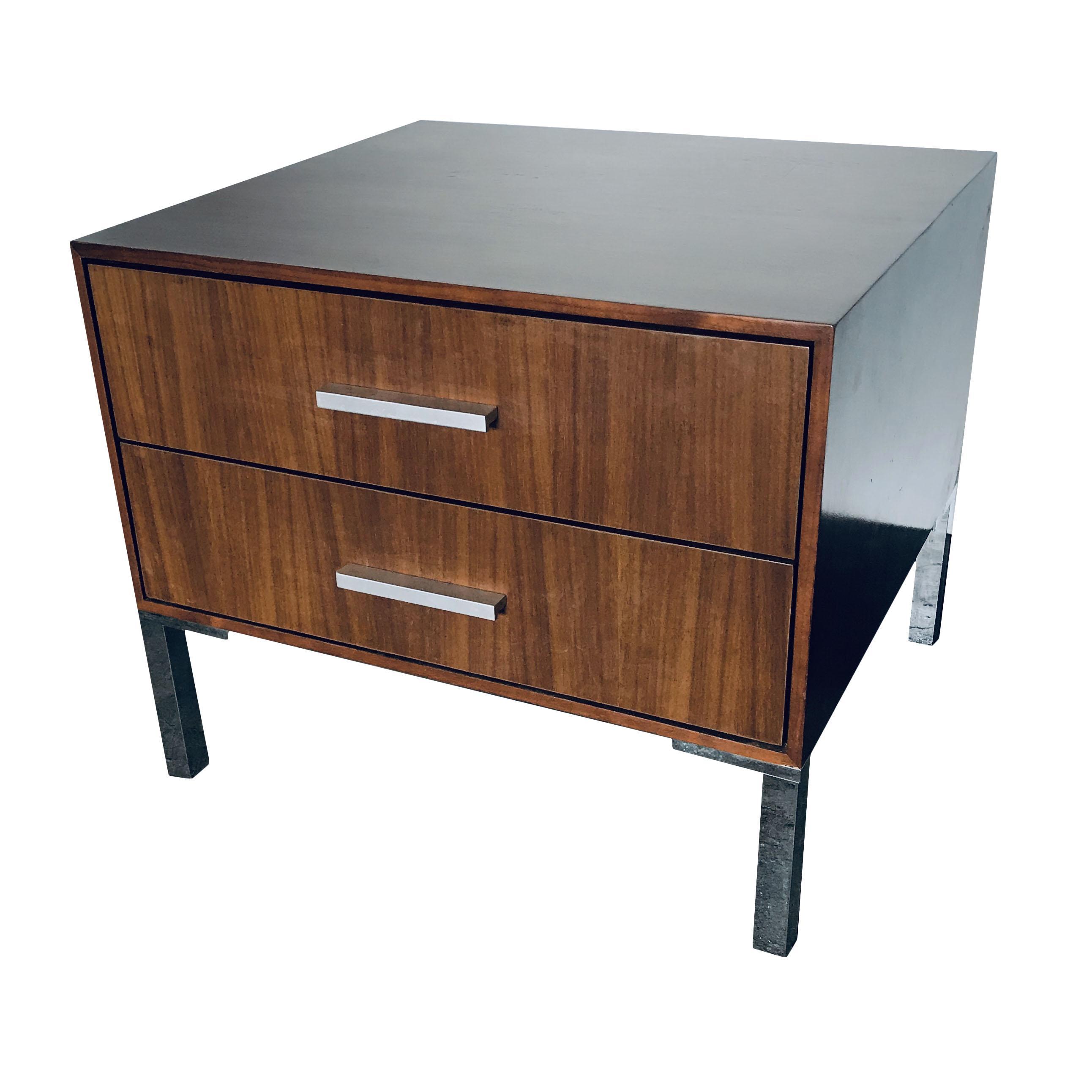Walnut Bedside Table with Steel Legs